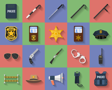 nightstick: Icon set of police regimentals, uniform, weapons, accessories. Flat style