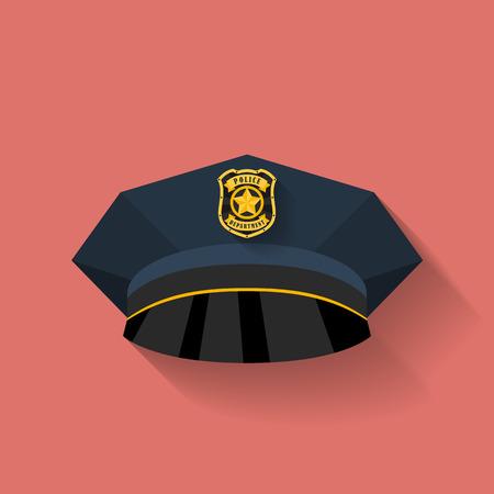 gorra policía: Icono del sombrero de policía, sombrero de policía. Estilo Flat
