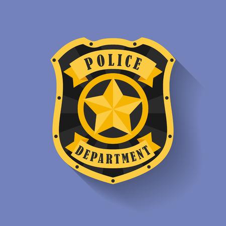 警察、保安官バッジのアイコン。フラット スタイル  イラスト・ベクター素材
