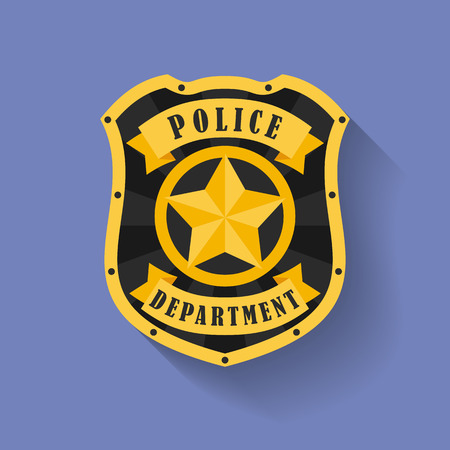 Icon of Police, Sheriff badge. Flat style