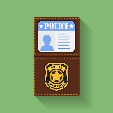 badge holder: Icon of Police Badge With Id Case, holder. Flat style