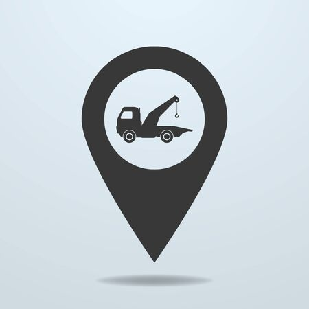 the wrecker: Map pointer with a wrecker symbol Illustration