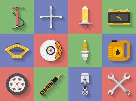 motor car candles: Icon set of Car repair parts, car service. Flat style
