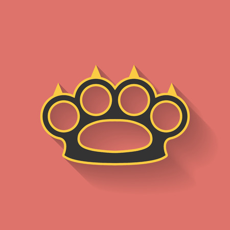 knuckles: Icon of brass knuckles or knuckle duster. Flat style