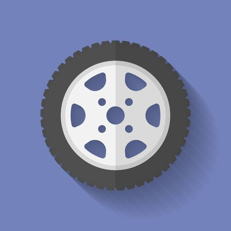 alloy wheel: Car wheel icon. Flat style
