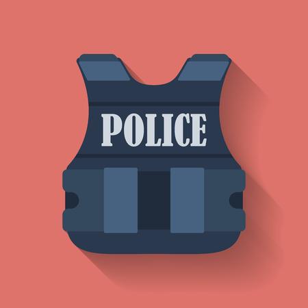 警察の防弾チョッキや防弾チョッキのアイコン。フラット スタイル