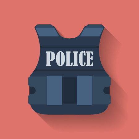 bullets: Icon of police flak jacket or bulletproof vest. Flat style Illustration
