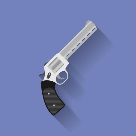 pistol gun: Icon of revolver pistol, gun. Flat style
