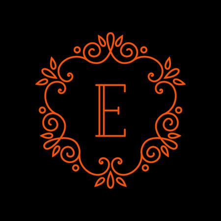 Monogram template, logo design. Line style  イラスト・ベクター素材