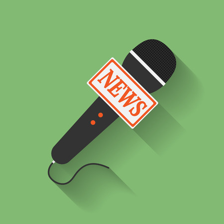 press news: Icon of Microphone Press or News microphone. Flat style