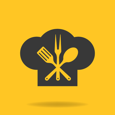 cook cap: Icon of Chef, cook cap with fork, spoon and fry shovel