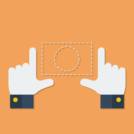 human hands: Frame of fingers or hands. Flat style Illustration