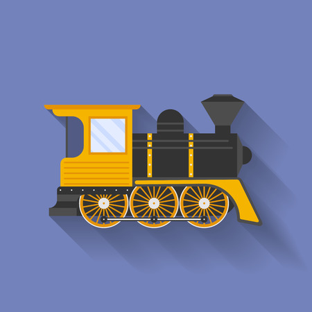 steam locomotive: Icon of Steam Locomotive or Puffer. Flat style