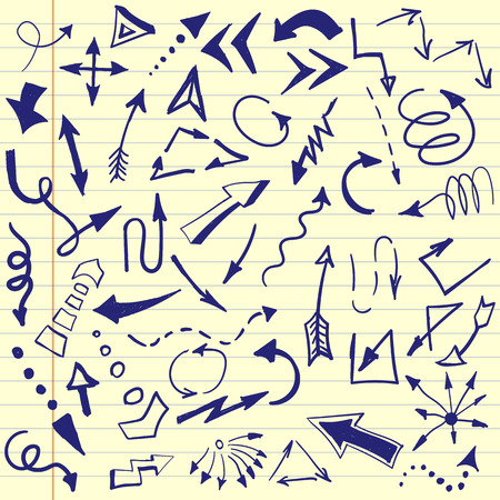 sketched arrows: Set of hand drawn, sketched arrows.  Doodle style Illustration