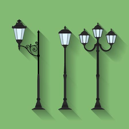 Icon set of three streetlights or lanterns. Flat style Vectores