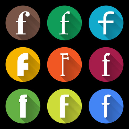 letter f: Set of Letters F.  Flat style icons for web