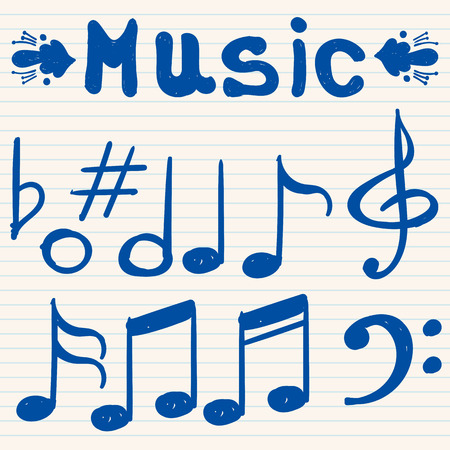 notes music: Set of hand drawn, sketched, doodled music notes and signs