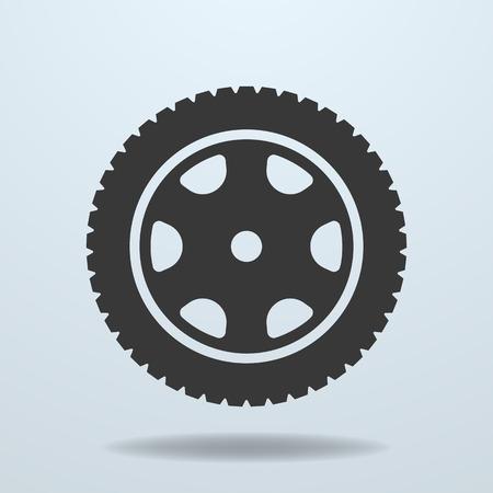car tire: Car wheel icon. Car tire, rim.