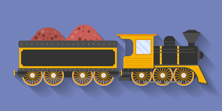 steam locomotive: Icon of Steam Locomotive or Puffer with the wagon. Flat style
