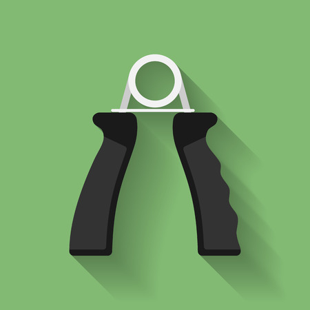 hand grip: Icon of hand grip exerciser or trainer. Flat style Illustration