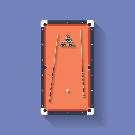 cues: Icon of poll or billiard table with cues and balls. Flat style Illustration