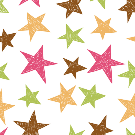 Hand drawn pattern from colorful stars
