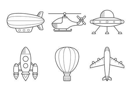 aerostat: Icon set of aero vehicles. Helicopter plane UFO dirigible aerostat rocket. Line Style