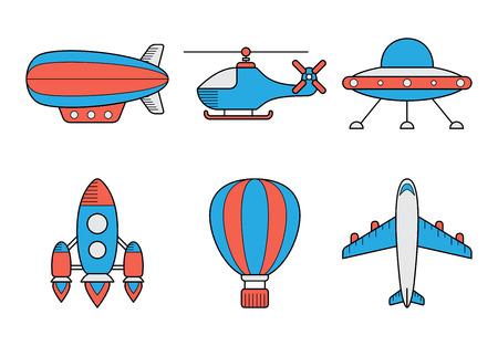 Icon set of aero vehicles. Helicopter plane UFO dirigible aerostat rocket. Line Style