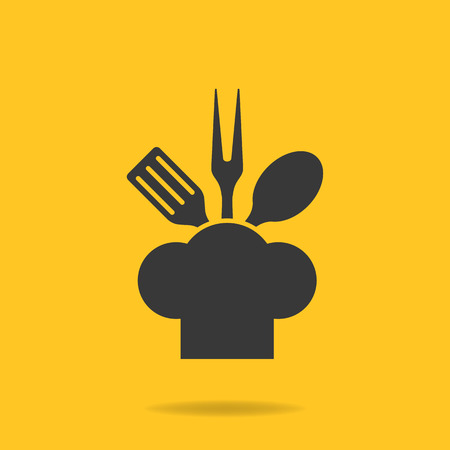 fry: Icon of Chef, cook cap with fork, spoon and fry shovel