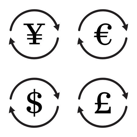 libra esterlina: Finanzas icono vector de cambio de divisa establecido. Yuan, dólar, euro, libra esterlina cambio de moneda