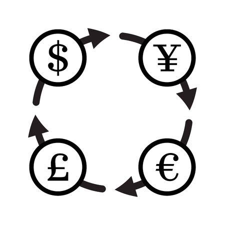 pound sterling: Finanzas icono vector de cambio de divisa establecido. Yuan, dólar, euro, libra esterlina cambio de moneda