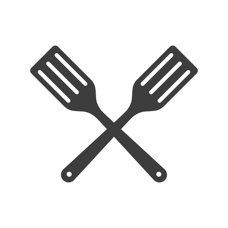 fry: Icon two Kitchen shovels, scapulas or Fry shovels