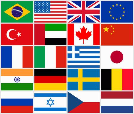 Set van de populaire land vlaggen Stock Illustratie