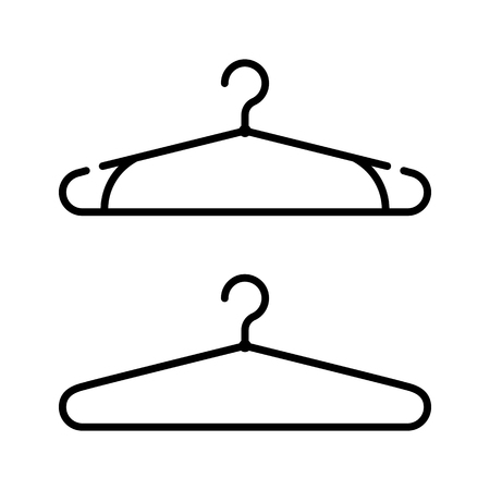 coat hanger: Set of two coat hanger icons. Clothes hanger vector icon Illustration