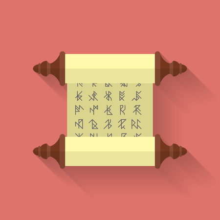 scroll paper: Ancient scroll or parchment with runes. Vector icon. Flat style