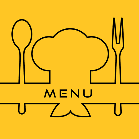 cook cap: Icon of Chef. Cook cap with fork, spoon and mustaches. Menu template