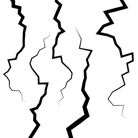 earthquake crack: Set of five fractures or cracks for your design Illustration