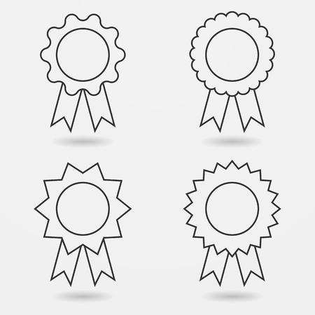 award: Icon set of award badges or medals with ribbons