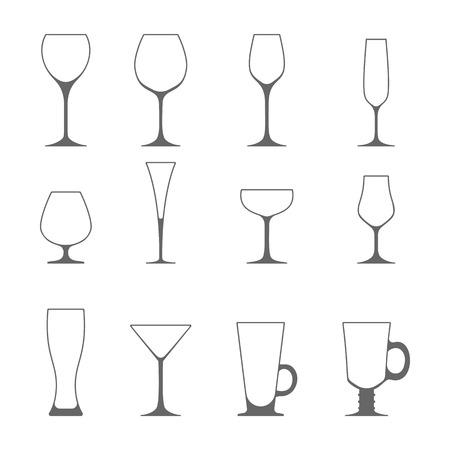 brandy: Vector icon set of utensil. Wine beer martini whiskey brandy glasses.