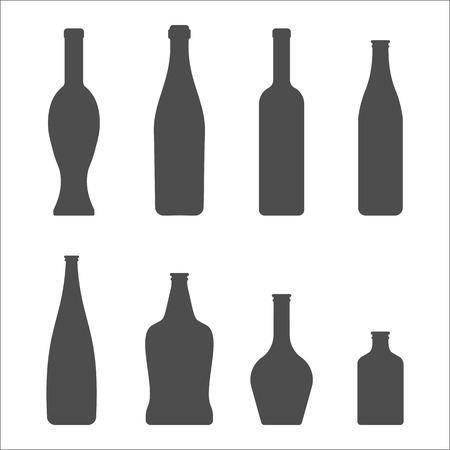 liqueur: Set of Glass Bottles vector icons. Wine, beer, whiskey, liqueur, champagne and other Bottles silhouette or symbol Illustration