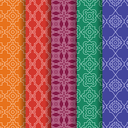 Set of Arabic geometric seamless patterns. Ethnic modern backgrounds in Islamic style Illustration