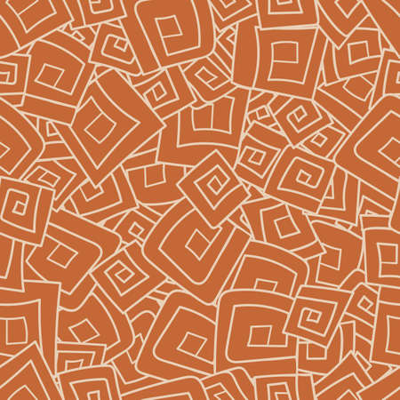 doodled: Seamless pattern from squares, spirals, rhombus. Vector illustration eps 10