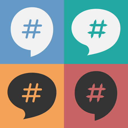 hash: Set of speech bubbles with hash tag