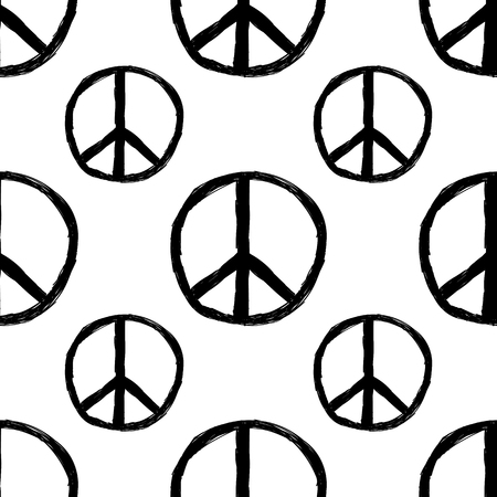 pacificist: Seamless pattern from Peace sign. Hippie symbol of peace