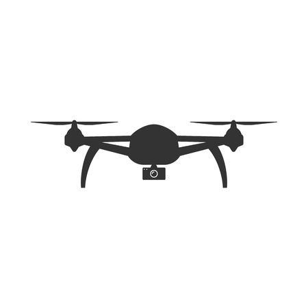 Icon of Drone.  Remote controlled flying quadcopter symbol Illustration