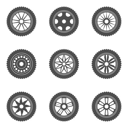 rims: Set of car rims, tires. Vector illustration