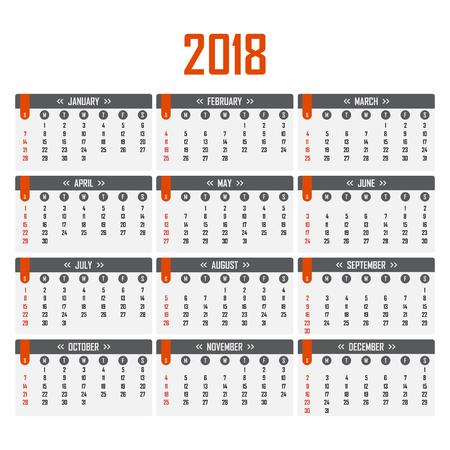 Kalender voor 2018. Week begint op zondag