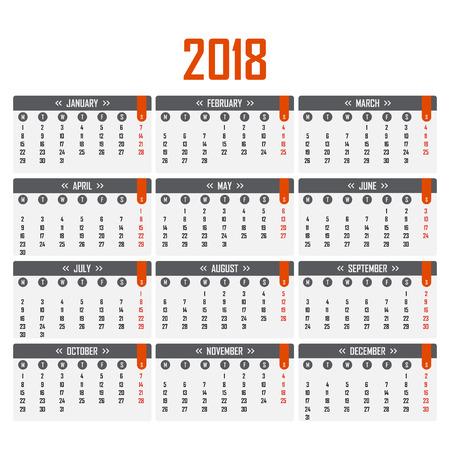 Calendar for 2018. Week starts on Monday Illustration