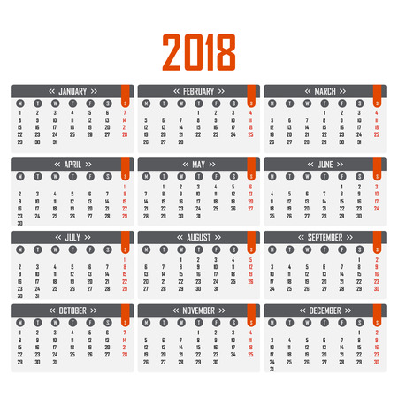 Calendar for 2018. Week starts on Monday Stock Illustratie