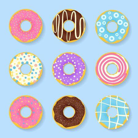 baker cartoon: Icon set of sweet, tasty donuts in glaze
